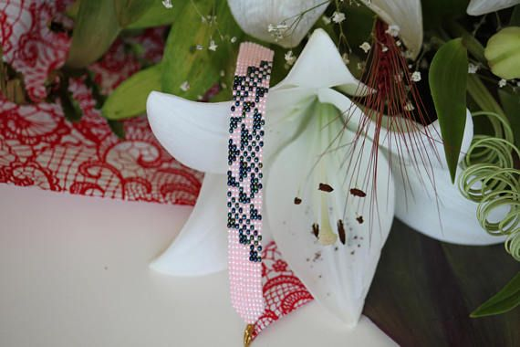 Miyuki beaded loom bracelet. Light pink opaque and metallic