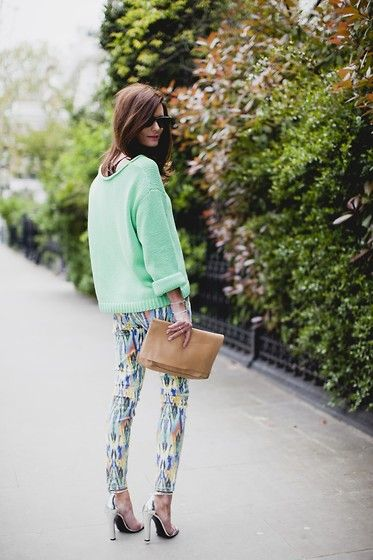 Starting to love printed denim...{Current Elliot Jeans}: Patterns Pants, Outfits, Mint Green, Prints Pants, Style, Over Sweaters, Northern Lights, Jeans, Mint Sweaters
