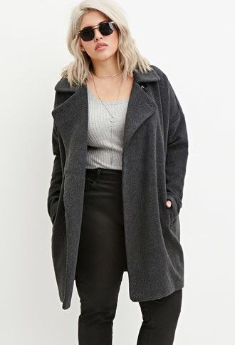 Plus Size Longline Textured Dolman Coat   Forever 21 PLUS - 2000163197