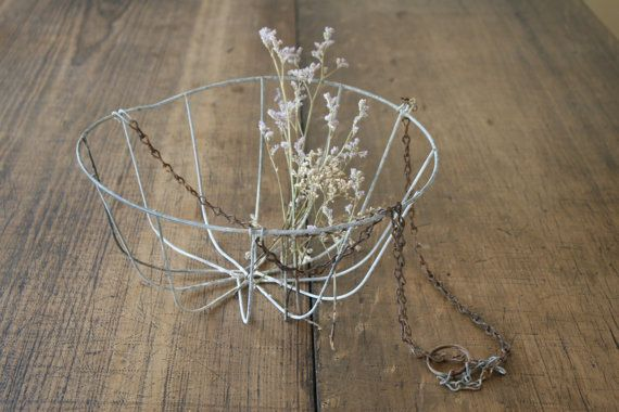 Rustic Wire Hanging Planter Metal Plant Pot Basket by FoundByHer