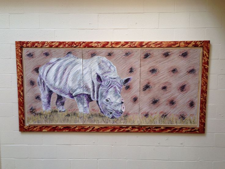 $1500. Piece is about rhino poaching for rhino horns. 8ft by 5ft piece. Easily transportable.   #rhino #animal #art