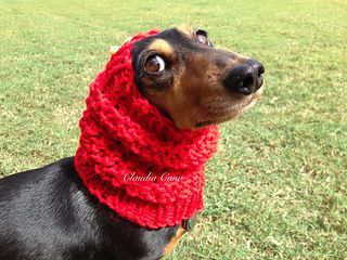 Free Loom Knit Dog Snood Pattern with a photo tutorial