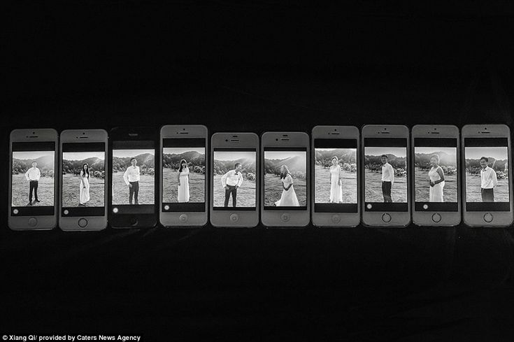 This interesting portrait combines modern technology with wedding tradition as the wedding party appear on a series of iPhones. Pictured: 1st place, Bridal Party Portrait, Summer 2014,Xiang Qi, Nanping, China