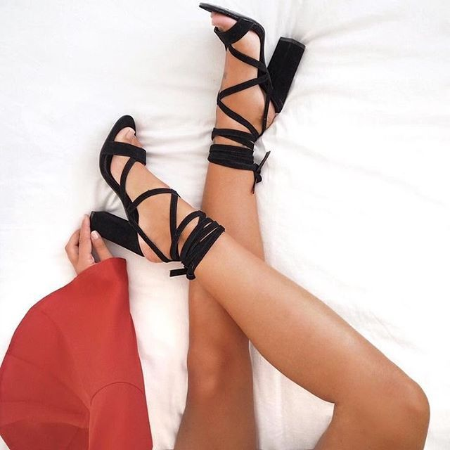 Friday night heels... laced up and ready to go! #TGIF // : @hannahcrosskey  // Follow @ShopStyle on Instagram for more inspo.