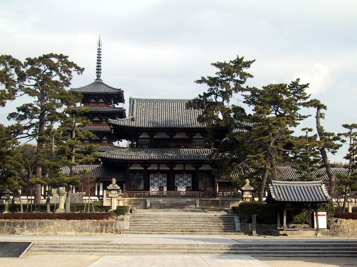 Horyu-ji Temple (Asuka) built in 607 by Prince Shotoku of the Soga Clan -- exposing Samurai to Buddhism. It is the earliest extant Buddhist temple bearing the oldest wooden structures in history.