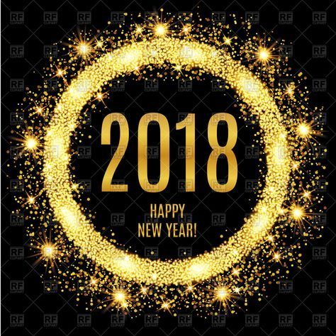 #2018 Happy New Year #glowing #gold #background, 153352, download royalty-free vector #clipart (EPS)