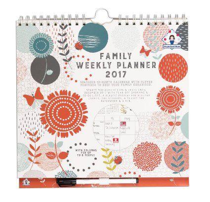 Organised Mum Family Weekly Planner Planning hebdomadaire académique 2016-2017 familial Affichage par semaine dans 6 colonnes De mi-août 2016 à décembre 2017 Avec couverture, listes de courses perforées, autocollants, grande pochette et stylo à clipser (en langue anglais)
