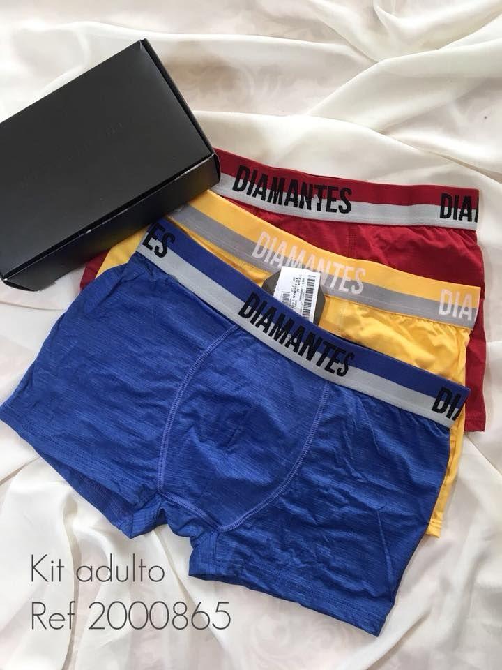 Kit com três cuecas boxer Diamantes Lingerie em microfibra. Vendemos no Mercado  Livre. 7d39865177ca2