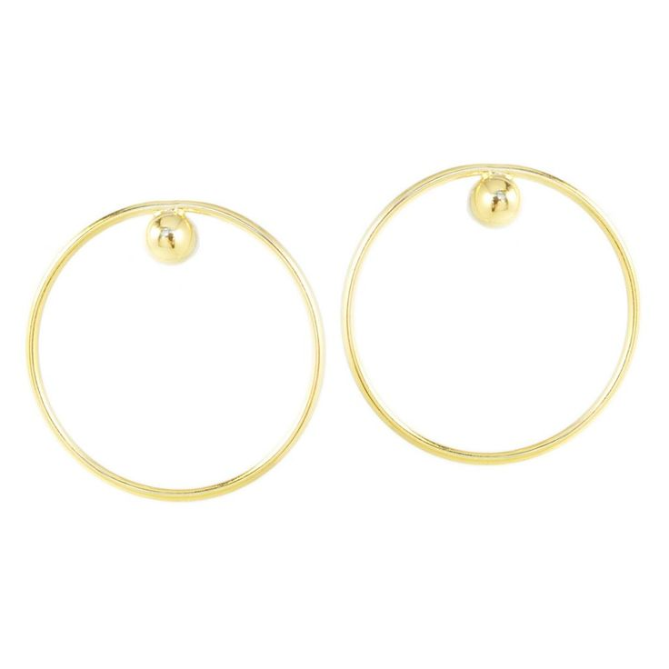 """Dot Hoops - Gold  The Must-Have Everyday Classic Hoop, also available in Silver.    18k gold plating, hypo-allergenic posts  1.4"""" diameter  Made in Canada"""