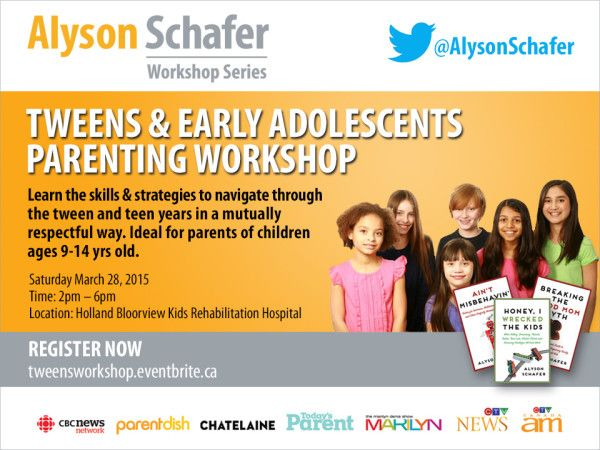 Parenting tweens can be challenging, but parenting expert Alyson Schafer shares her strategies in her Tweens & Early Adolescents Parenting Workshop. Enter to win 2 tickets to this fantastic learning opportunity.