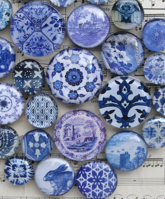 Delft, Blue and White China, Blue Transferware, Vintage Blue and White, Blue Willow, Blue and White Large Glass Magnet Set, Home Decor:
