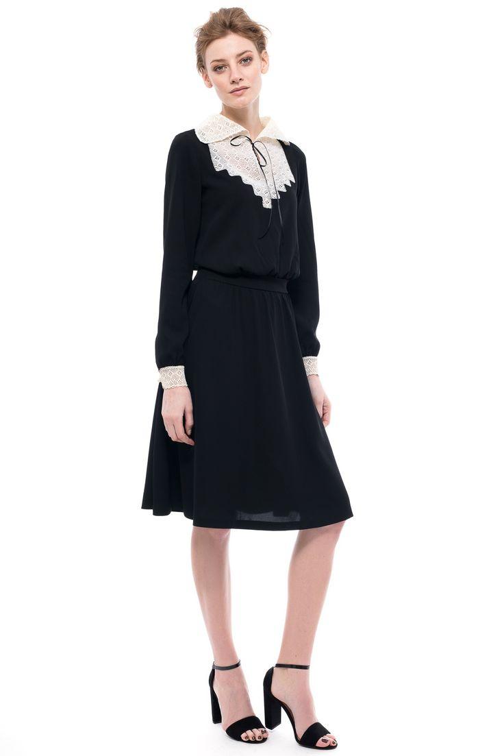Crochet Collar Silk Dress