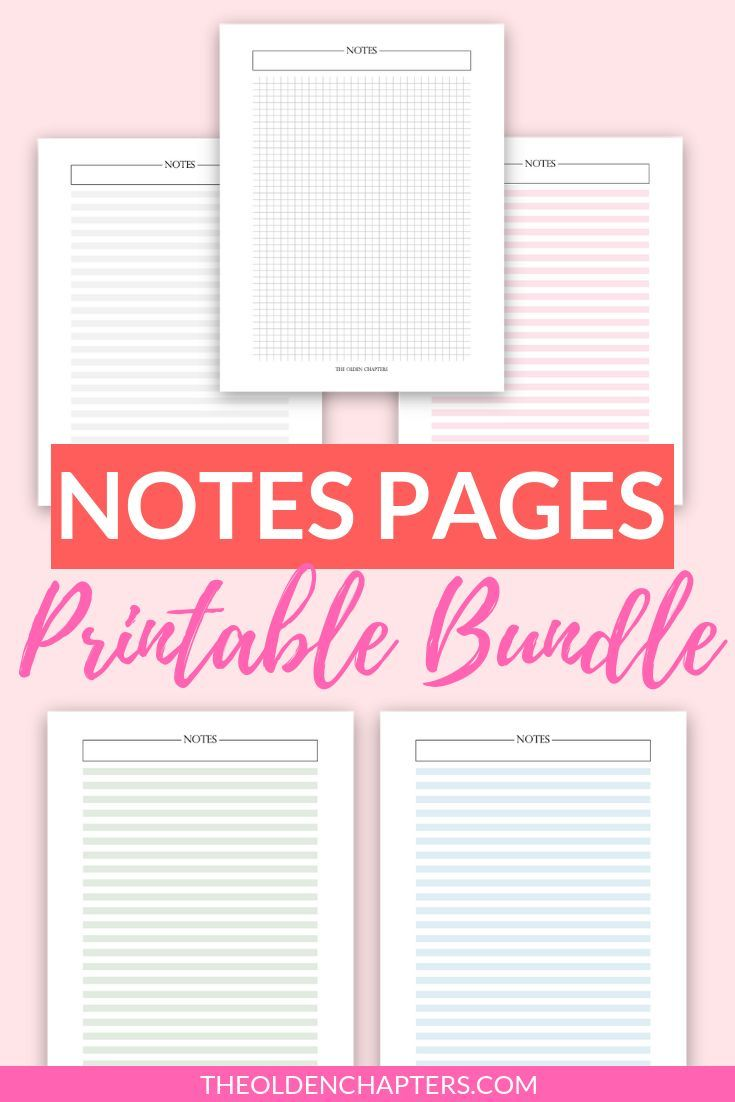 Graph And Lined Notes Pages Printable Bundle Digital Note Taking Paper Blank Notes A5 Planner Inserts Planner Refills Letter Printable Planner Planner Printables Free Planner Inserts Printable