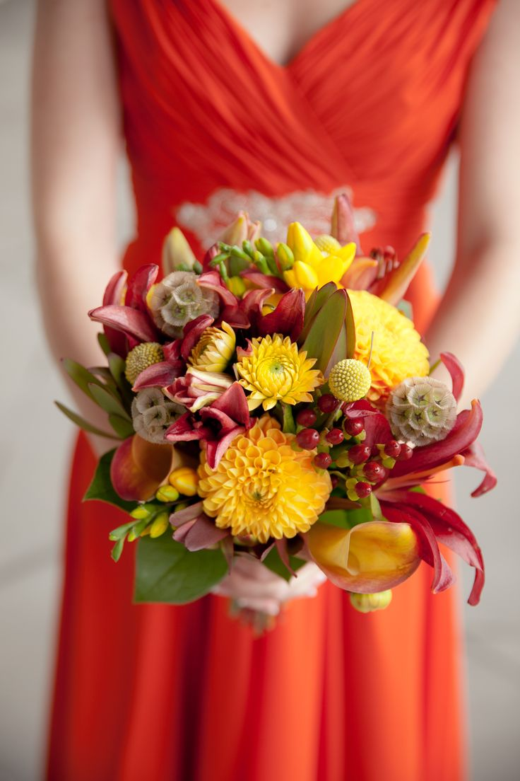 Yellow Dahlia, Craspedia and Scabiosa Bridesmaid Bouquet, A Classic, Autumn-Inspired Wedding at The Gershon Fox Ballroom in Hartford, Connecticut, Nikki Nicole Photography, fall wedding, timeless weddings