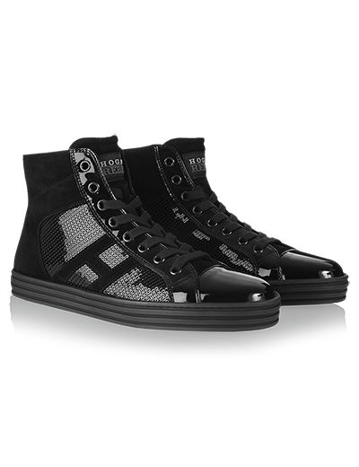 #HOGANREBEL R141High-Top #sneaker in #suede and patent #leather panels with embroidered sequins. Discover how to add a touch of #glamor to your look with #black hoganrebel.com/women
