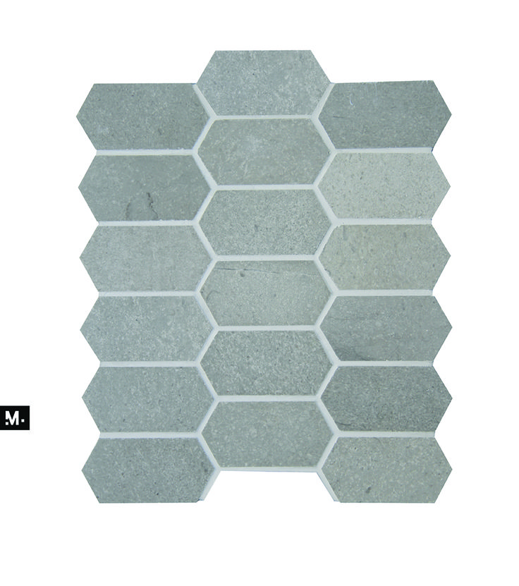 MUDTILE floor or wall mosaic tile / pattern name: Rock / color: Ash (grays) / 2 x 3 in / Distributed by ciot.com (Canada) mudtile.com