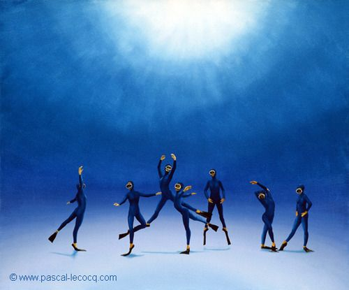"""OLYMPIC GAMES 2012, July 31st: Gymnastics - Artistic Women's Team Final    pic: """"CYGNES DU LAC""""    - Swan Lake - oil on canvas by Pascal Lecocq, The Painter of Blue ®, 21 1/4""""x25 5/8"""" 54 x 65cm, 1997, lec461, private collection Paris, France. Print available. © www.pascal-lecocq.com."""