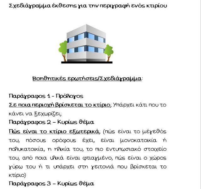 """Για την πρώτη ενότητα της Γλώσσας """" Ένα ακόμα σκαλί """" , προτείνεται σχεδιάγραμμα περιγραφής κτιρίου με βοηθητικές ερωτήσεις, εκφράσεις κα..."""