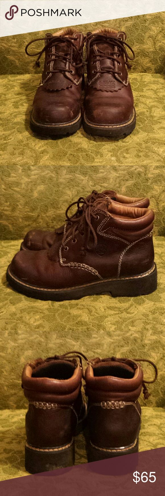 Ariat lace up boots Too many boots, these hafta go!!! Really comfy Ariat work boots. Some toe scuffing, not too much though. Great for wearing in the inclimate weather! Ariat Shoes Lace Up Boots