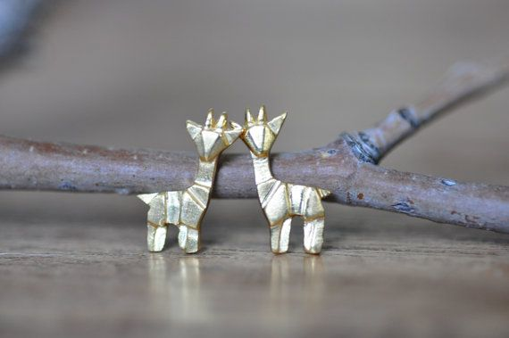 Sterling Silver Origami giraffa orecchini, orecchini oro giraffa, Origami animali, monili Origami JJ 925