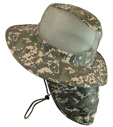 Cool Mesh Military Camouflage Boonie Bush Safari Outdoor Fishing Hiking Hunting Boating Brim Hat Sun Cap with Neck Flap Digital Camo M ** Visit the image link more details.