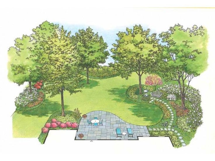 Eplans Landscape Plan: Woe to the gardener who has to deal with established tall trees that cast a  great deal of shade--a beautiful, colorful backyard is out of the question,  right? Wrong! Nothing could be further from the tr