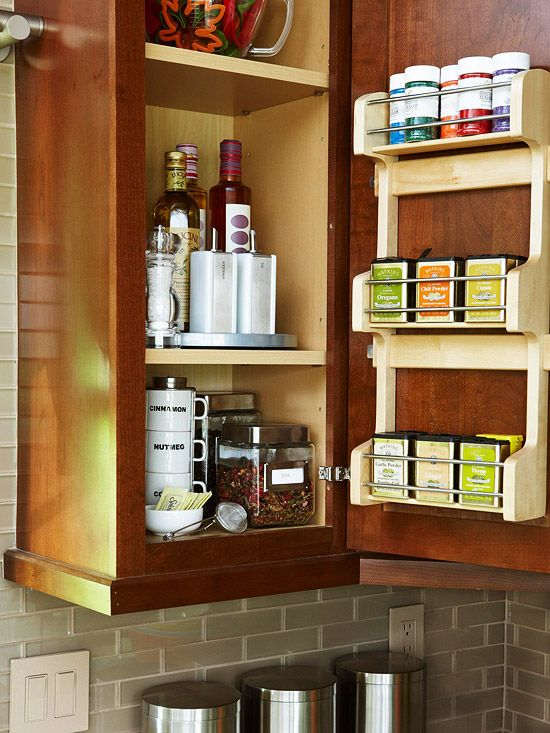 get organized, keep everything clutter free.Spices Storage, The Doors, Cabinets Storage, Spices Racks, Spices Cabinets, Spice Racks, Storage Ideas, Recipe For Success, Cabinets Doors