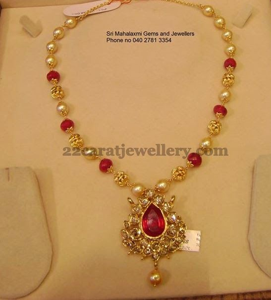 Jewellery Designs: Necklace from Srimahalakshmi Jewellers