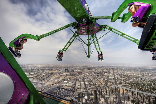 Stratosphere ride in Las Vegas..You wouldn't get me to the top of the building let alone on this bad boy!