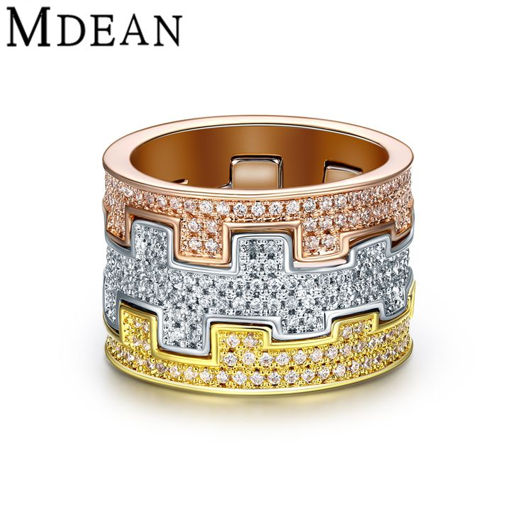 MDEAN White Gold Plated Rings for women wedding ring engagement Women Rings vintage Bague Luxury ring CZ diamond jewelry MSR874