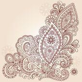 Henna mehndi paisley bloemen doodle vector ontwerp — Stockvector