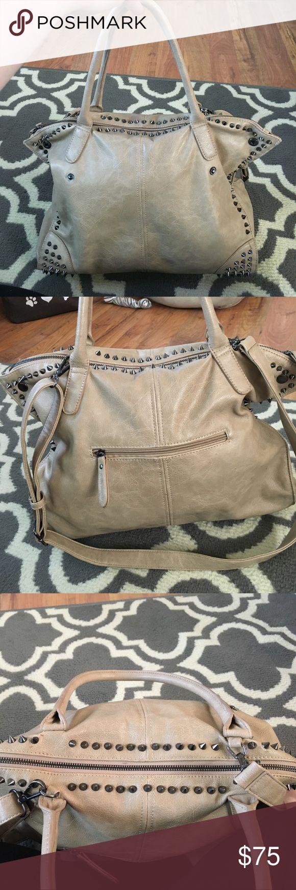 Melie Bianco tan studded large handbag Melie Bianco Tan studded large bag with strap Melie Bianco Bags Satchels
