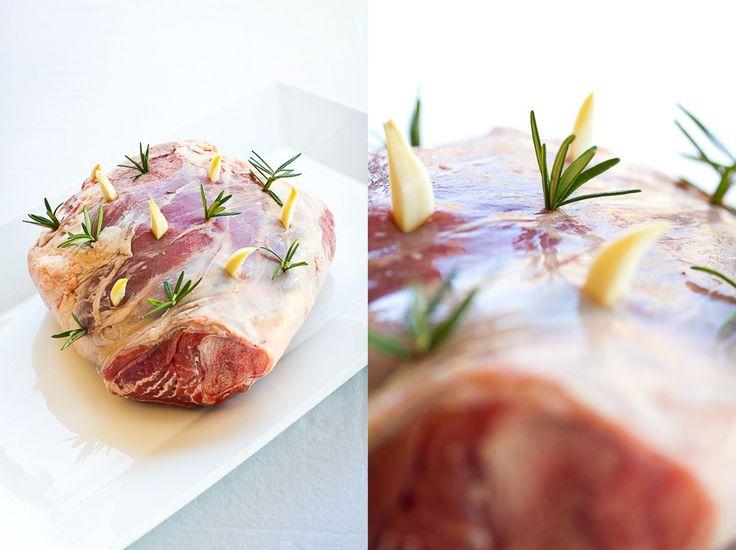 Leg of Lamb ready for roasting - stuffed with fresh rosemary & garlic!!!!