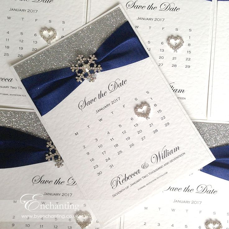Navy Save the Date Calendar | The Cinderella Collection - Save the Date Calendar | Featuring silver glitter paper, luxury navy blue ribbon and snowflake embellishment | Luxury handmade wedding invitations and stationery #byenchanting
