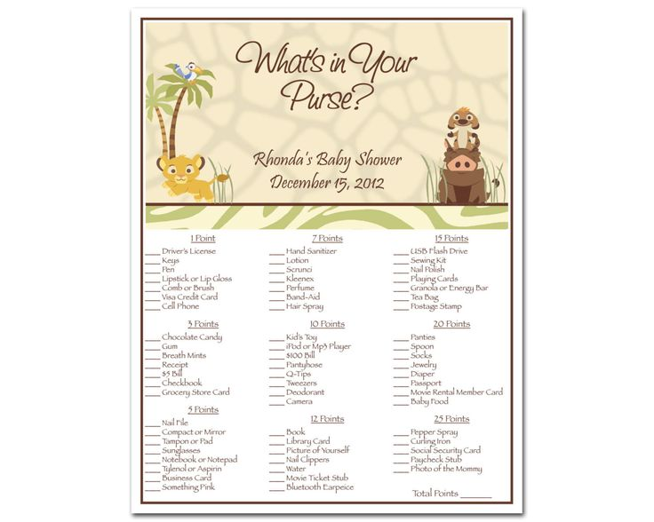 273 best baby shower ideas images on pinterest birthdays printable lion king baby shower whats in your purse game simba safari 800 solutioingenieria Gallery
