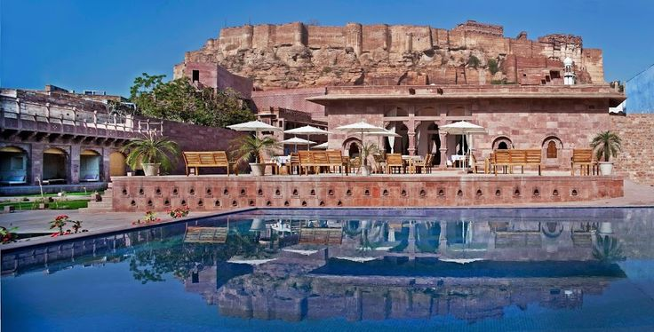 View of the majestic #MehrangarhFort in the swimming pool at #Raas #Jodhpur #Rajasthan! A perfect #RareIndia #DelhiGetaway!    #Explore More: http://bit.ly/1qNsvKP