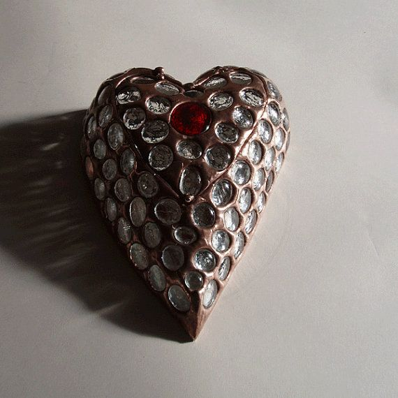 Heart box  stained glass jewelry box by 1178box on Etsy