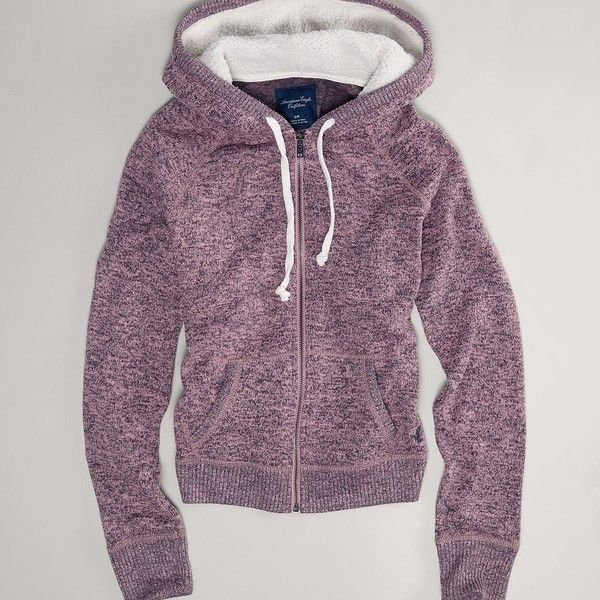 AE Sweater Hoodie ($9.99) ❤ liked on Polyvore featuring tops, hoodies, pink, pink hoodies, eagles hoodie, pink top, purple top and embroidered hooded sweatshirts
