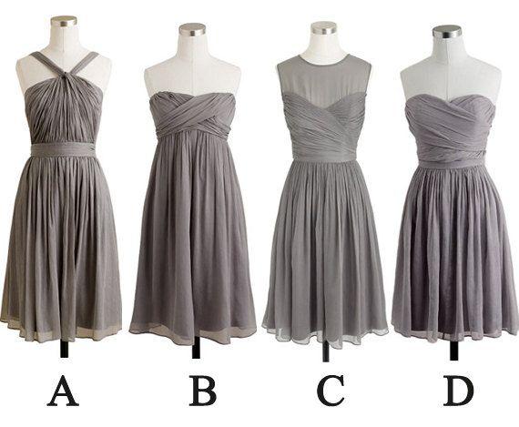 gray bridesmaid dresses short bridesmaid dresses by fitdesign, $93.00