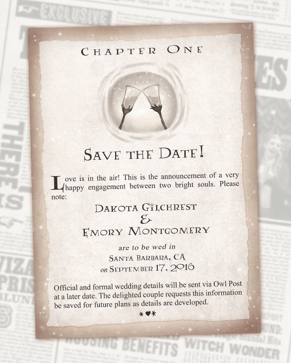 harry potter save the date book chapter digital invitations geek wedding - Harry Potter Wedding Invitations