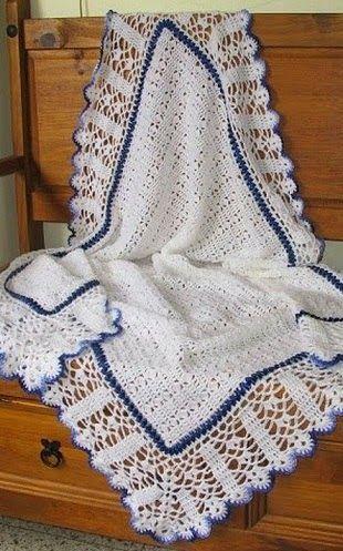 Hobby lavori femminili - ricamo - uncinetto - maglia: copertina neonato