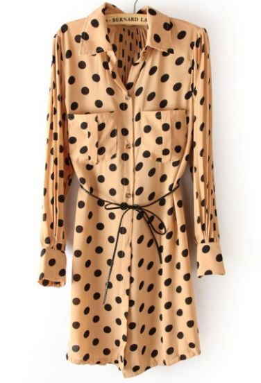 Khaki Polka Dot Drawstring Pockets Pleated Chiffon Dress - Sheinside.com