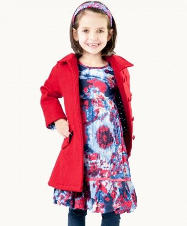 Classic Red Wool Coat.  Click on the image to see our full range of girls' Winter warmers.