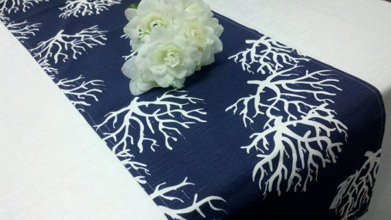 CHOOSE SIZE RUNNER-- Coral Table Runner Navy Blue with white and grey coral Nautical Beach Wedding Bridal on Etsy, $12.50