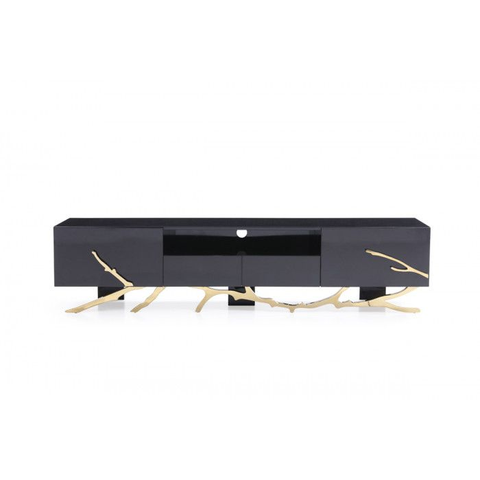 Modrest Legend Modern Black & Gold TV Stand | Gold tv stand, Tv