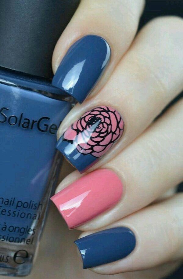 Royal blue and pink nail rose art