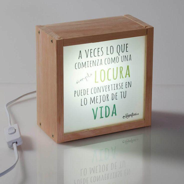 Kitkasa caja de luz personalizada con tu frase favorita - Caja de luz de madera ...