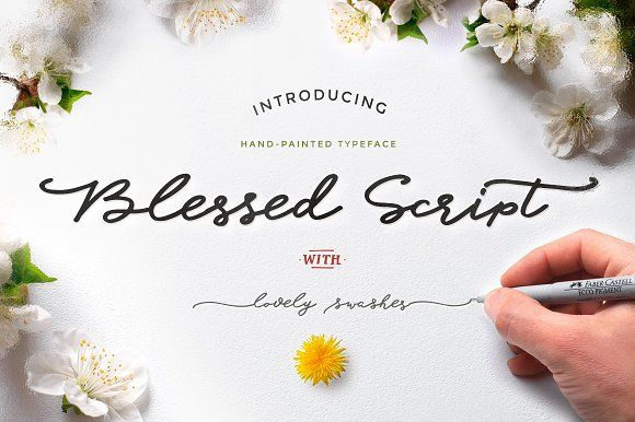 Blessed Script with sweet BONUS by Blessed Print on @creativemarket