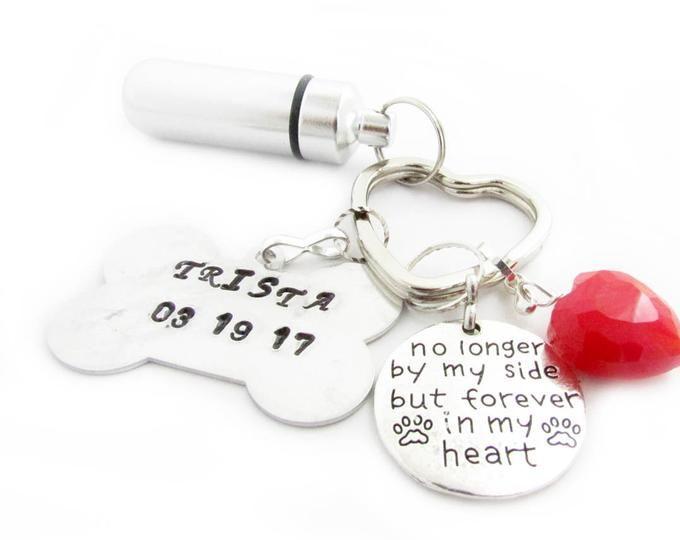 Pet Loss Keychain Ashes Urn Keychain Paw Print Keychain Pill