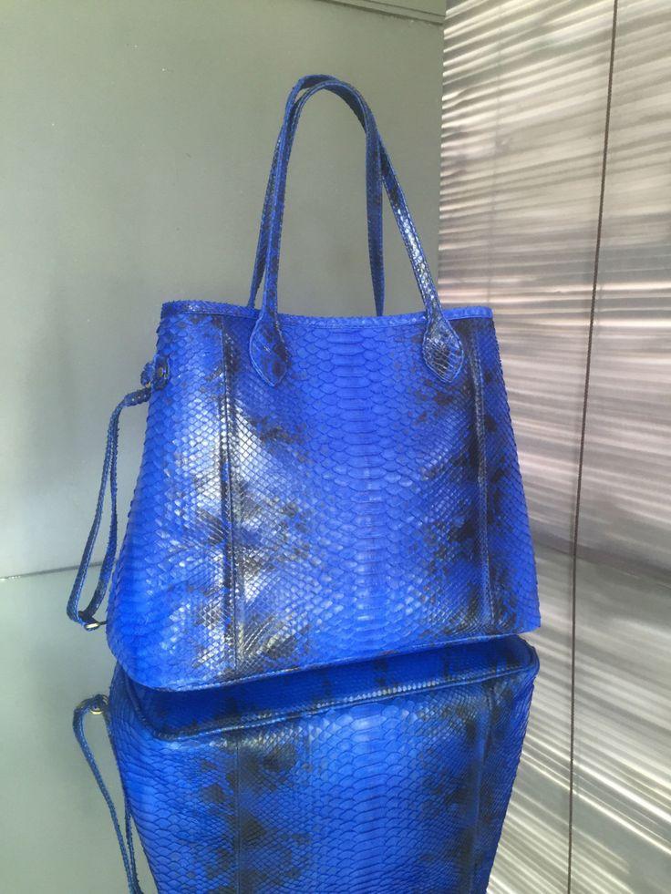 Big Python leather shopper. Blue  Leather shopper bag.  Big Leather handbag. Shopper tote. by StudioANTU on Etsy
